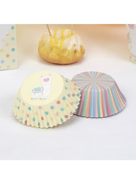 100 cápsulas para cupcakes de papel - Llama Love