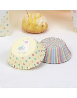 100 bases para cupcakes de papel - Llama Love