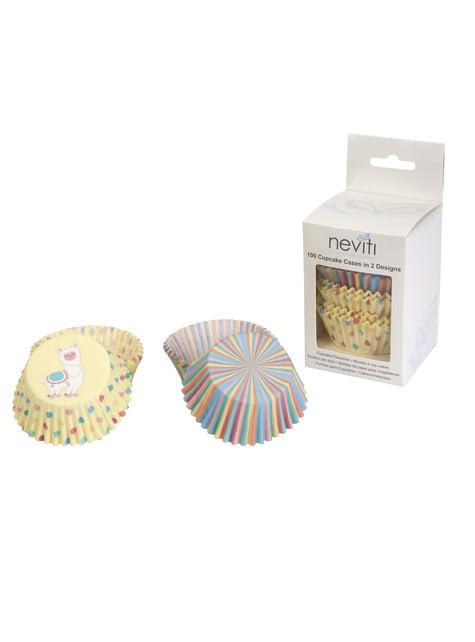 100 cápsulas para cupcakes de papel - Llama Love - para tus fiestas