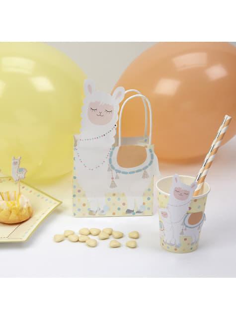5 paper gift bags - Llama Love