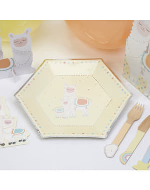 8 sekskantede papirtallerkne (27 cm) - Llama Love