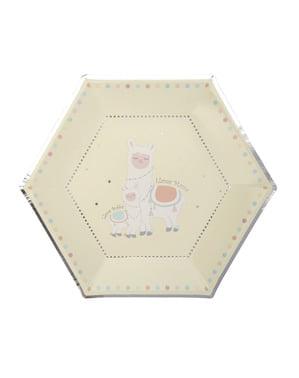 Комплект от 8 шестоъгълни хартиени чинии - Llama Love