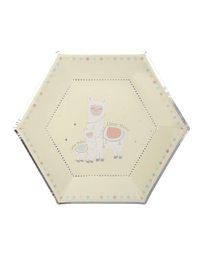 8 papperstallrikar hexagonala  (27 cm) - Llama Love