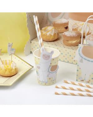 Комплект от 8 хартиени чаши - Llama Love