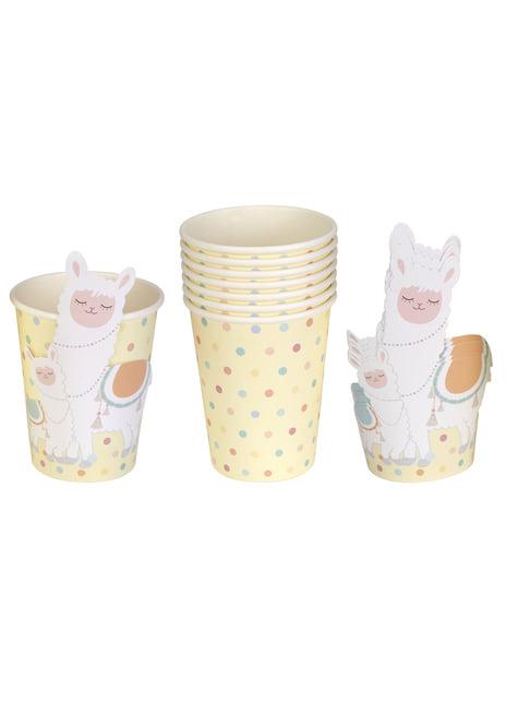 8 paper cups - Llama Love