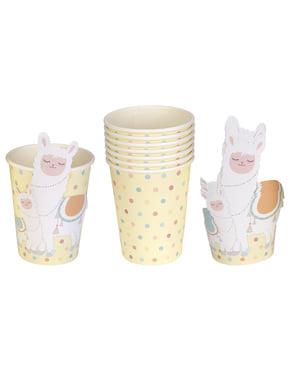 8 vasos de papel - Llama Love