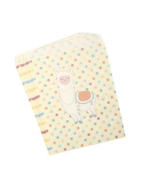 Set 25 papírových party tašek - Llama Love
