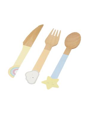 24 wooden cutlery pieces - Llama Love
