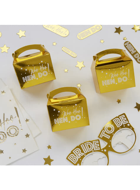 10 cajitas de regalo en dorado de papel - Woo Hoo Hen Do