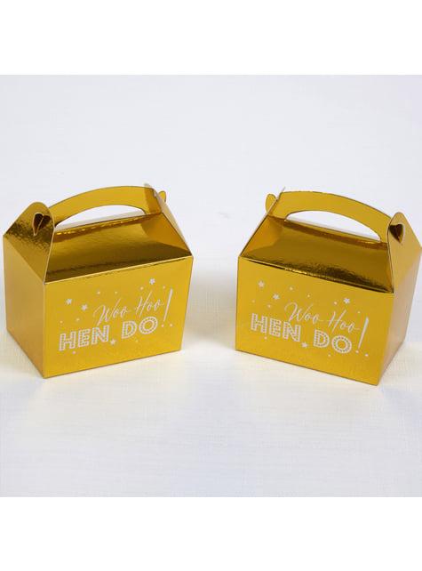 10 boîtes cadeaux dorées en carton - Woo Hoo Hen Do