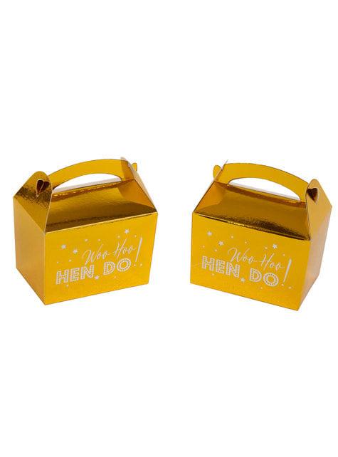10 cajitas de regalo en dorado de papel - Woo Hoo Hen Do - barato