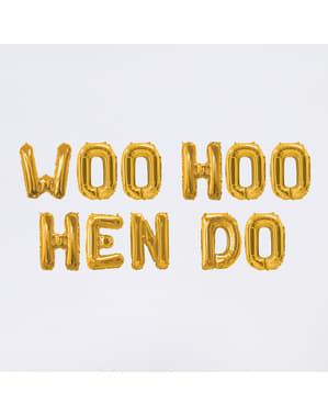 Guirlande de ballons aluminium dorés - Woo Hoo Hen Do