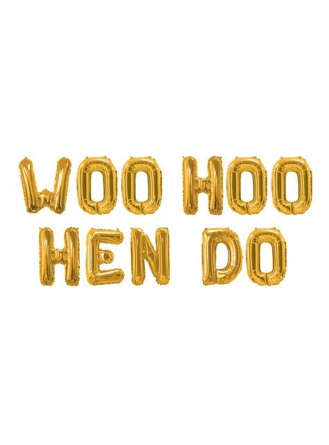 Festone di palloncini di foil dorati - Woo Hoo Hen Do