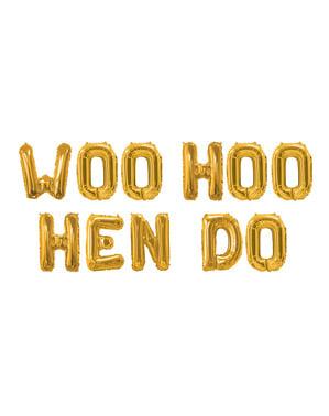 Girlang med folieballonger guldfärgade - Woo Hoo Hen Do