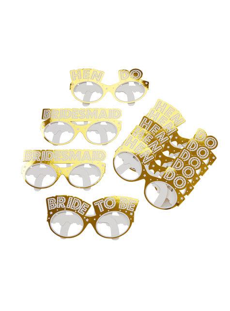 8 accesorios photocall de gafas doradas de papel - Woo Hoo Hen Do
