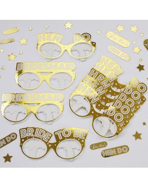 8 glasögon guldfärgade i papp - Woo Hoo Hen Do