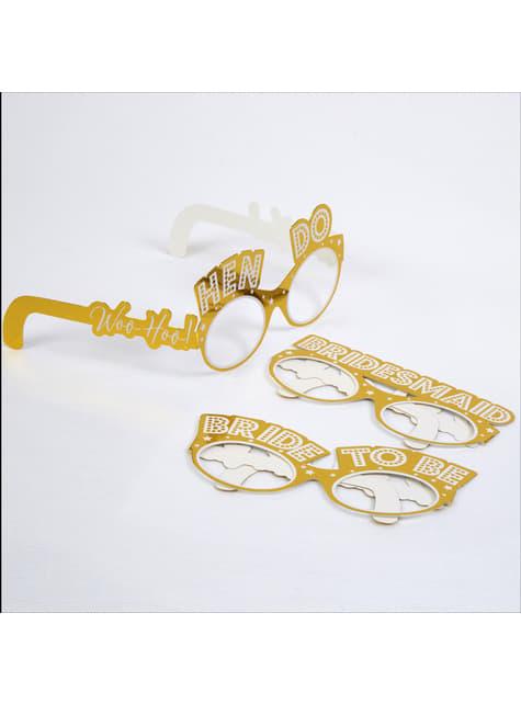 8 accesorios photocall de gafas doradas de papel - Woo Hoo Hen Do - barato