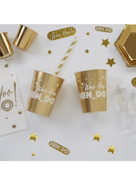 8 vasos dorados de papel - Woo Hoo Hen Do - para tus fiestas