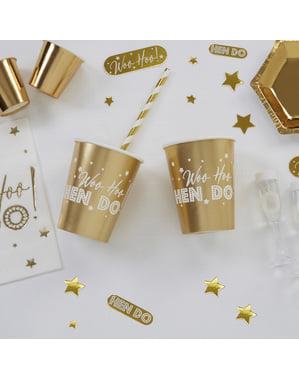 Sada 8 papírových kelímků zlatých - Woo Hoo Hen Do