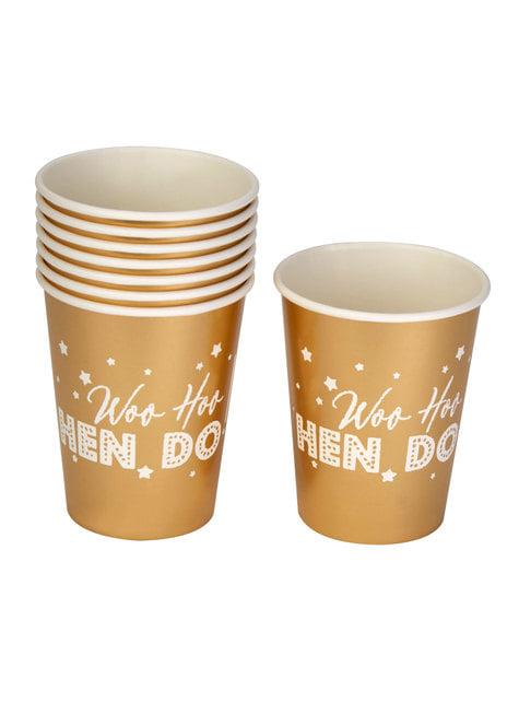 8 bicchieri dorati di carta - Woo Hoo Hen Do