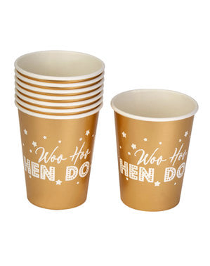 8 copos dourados de papel - Woo Hoo Hen Do