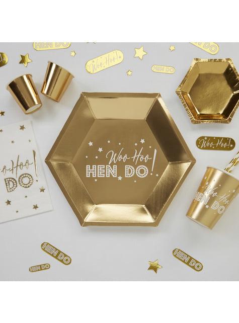 8 platos hexagonales dorados de papel (27 cm) - Woo Hoo Hen Do