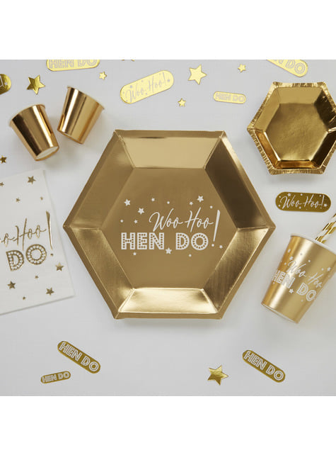 8 hexagonal paper plates in gol (27 cm) - Woo Hoo Hen Do