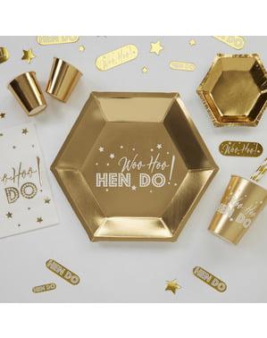 8 kuusikulmaista paperilautasta kultaisena – Woo Hoo Hen Do