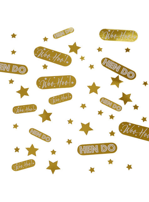 Assorted gold table confetti - Woo Hoo Hen Do