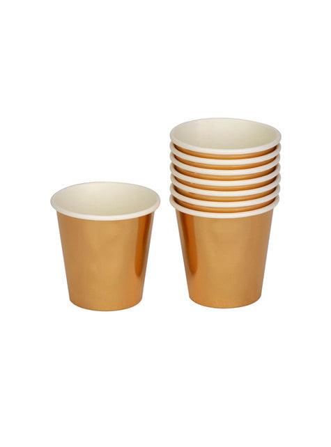 8 vasos pequeños dorados de papel - Woo Hoo Hen DO - para tus fiestas