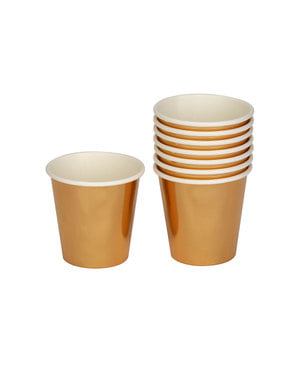 8 small paper cups in gold - Woo Hoo Hen Do