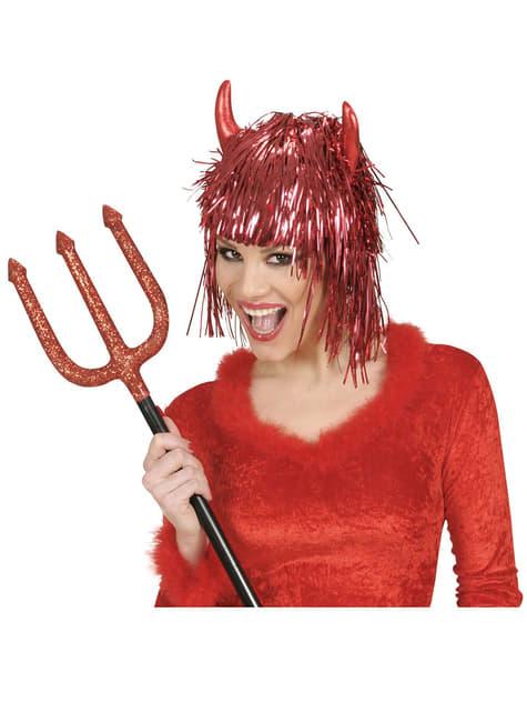 Peluca roja de diablesa con cuernos