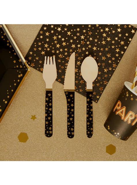 24 cubiertos de madera - Glitz & Glamour - para tus fiestas