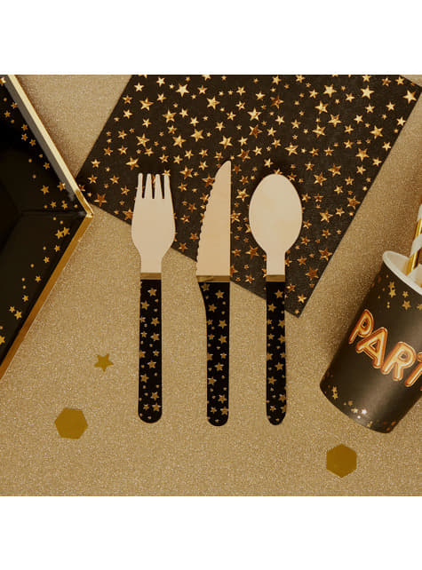 Set of 24 wooden cutlery pieces - Glitz & Glamour