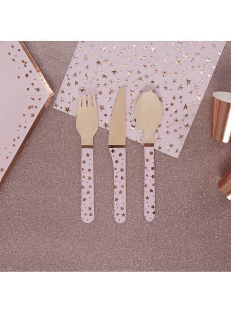 24 cubiertos de madera - Glitz & Glamour Pink & Rose Gold - para tus fiestas