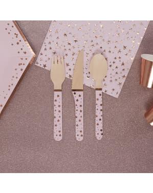 24 Τεμάχια Ξύλινα Μαχαιροπίρουνα - Glitz & Glamour Pink & Rose Gold