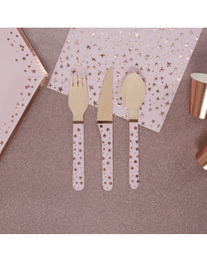 24-delig houten bestekset - Glitter & Glamour Roze & Rosé Goud