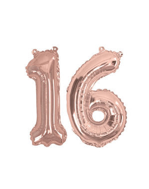 "Folioilmapallo ""16"" ruusukultaisena – Glitz & Glamour Pink & Rose Gold 40cm"