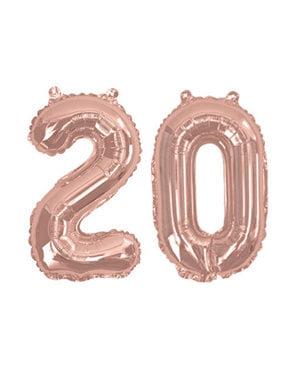 "Folioilmapallo ""20"" ruusukultaisena – Glitz & Glamour Pink & Rose Gold 40cm"