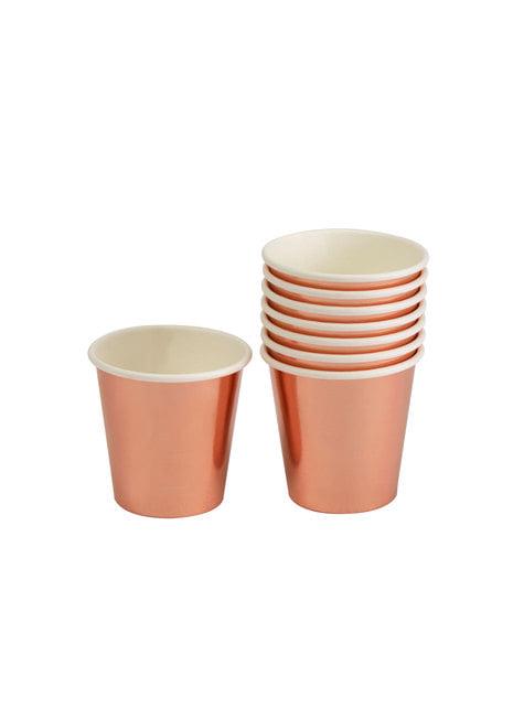 8 vasos pequeños en oro rosa de papel - Glitz & Glamour Pink & Rose Gold - para tus fiestas