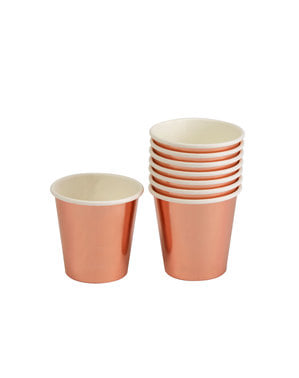 8 vasos pequeños en oro rosa de papel - Glitz & Glamour Pink & Rose Gold
