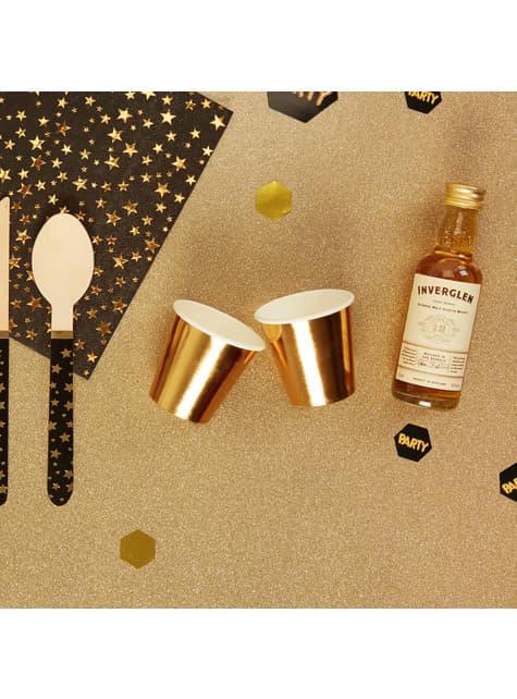8 vasos pequeños en oro rosa de papel - Glitz & Glamour Pink & Rose Gold - barato