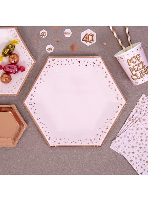 Setja af 8 sexkantaðar pappírsplötum - Glitz & Glamour Pink & Rose Gold