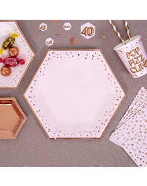 8 platos hexagonales de papel (27 cm) - Glitz & Glamour Pink & Rose Gold