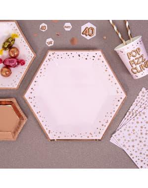 8 papperstallrikar hexagonala  (27 cm) - Glitz & Glamour Pink & Rose Gold