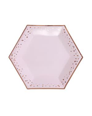8 sekskantede papirtallerkener - Glitz & Glamour Rosa & Rosegull