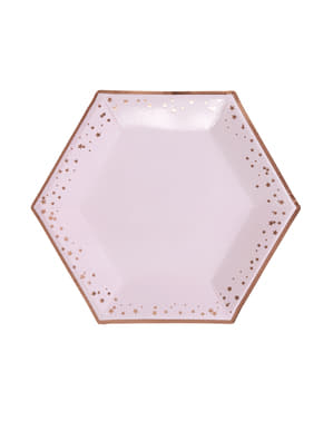 8 farfurii hexagonale de carton (27 cm) - Glitz & Glamour Pink & Rose Gold