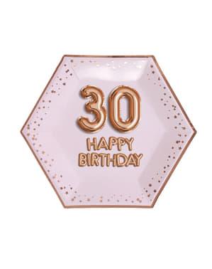 """8 """"30 Happy Birthday"""" kuusikulmaista paperilautasta – Glitz & Glamour Pink & Rose Gold"""
