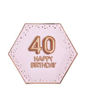 """8 """"40 Happy Birthday"""" kuusikulmaista paperilautasta – Glitz & Glamour Pink & Rose Gold"""