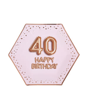 """8 """"40 boldog születésnapot"""" tartalmazó hatszögletű papírlapok - Glitz & Glamour Pink & Rose Gold"""